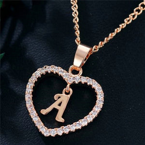 A-Z Initial Heart Shaped Necklace