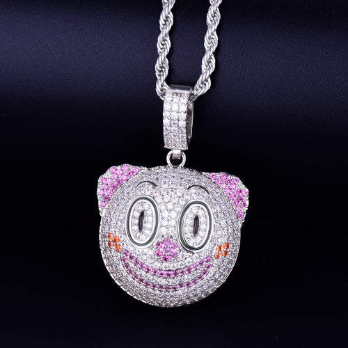 Clown Face Emoji Pendant With Tennis Chain