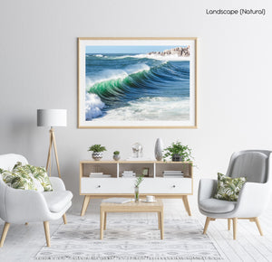 Wave breaking at Llandudno beach in Cape Town in a natural fine art frame