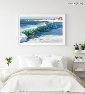Wave breaking at Llandudno beach in Cape Town in a white fine art frame