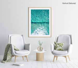 Aerial of Surfers in a turqoise ocean in a a natural fine art frame