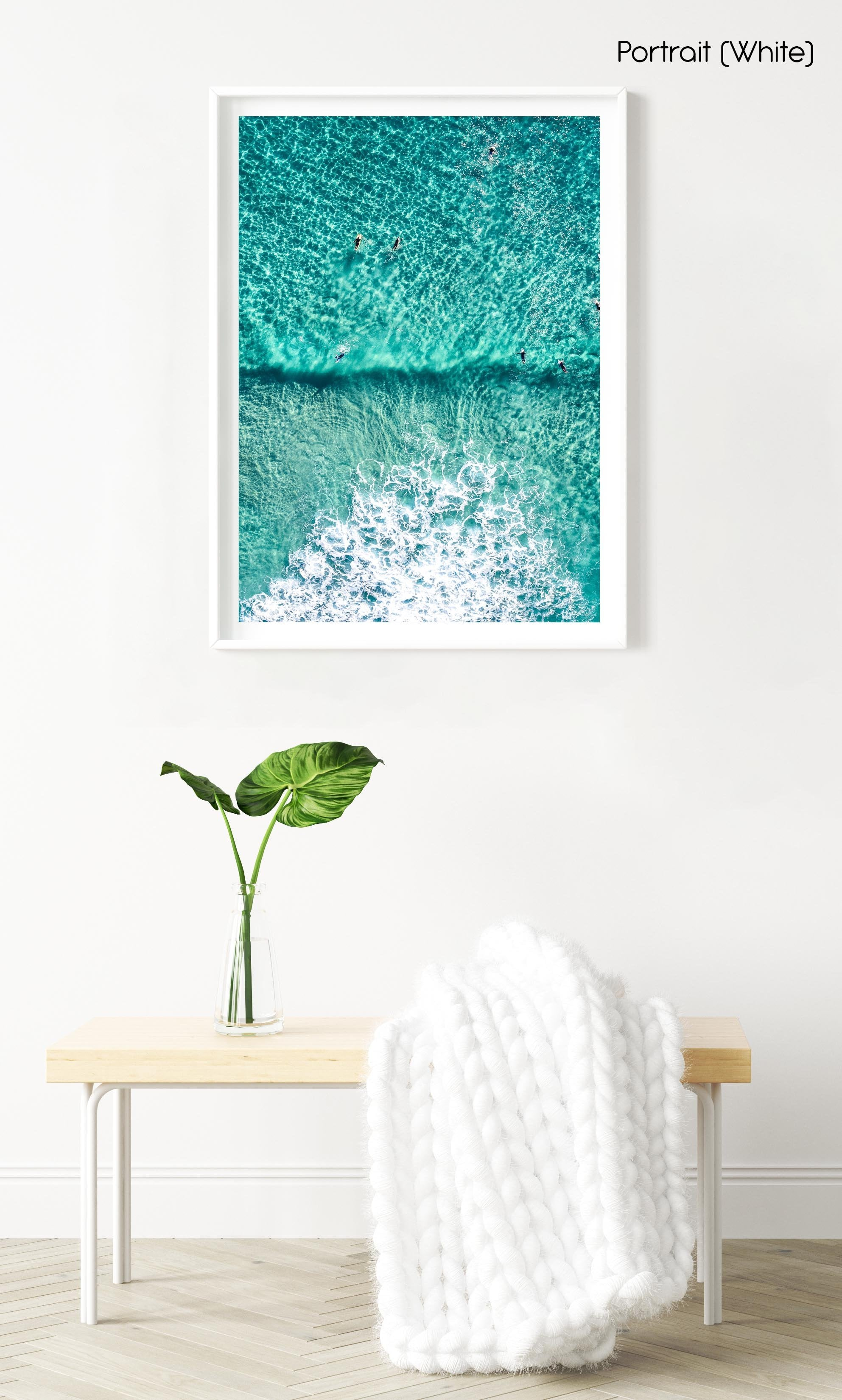 Aerial of Surfers in a turqoise ocean in a white fine art frame