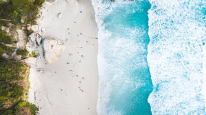 Aerial of waves and rocks on Llandudno beach Cape Town