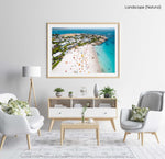 Aerial of Clifton Beach in Cape Town during summer in a natural fine art frame