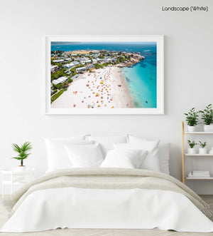 Aerial of Clifton Beach in Cape Town during summer in a white fine art frame