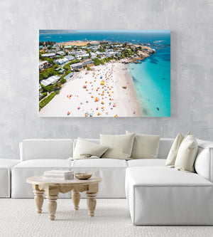 Aerial of Clifton Beach in Cape Town during summer in an acrylic/perspex frame