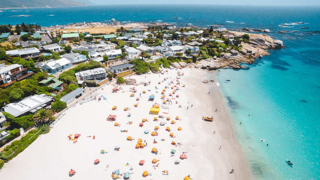 Aerial of Clifton Beach in Cape Town during summer