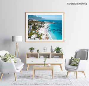 Aerial Clifton beach along Cape Town coast on a summers day in a natural fine art frame