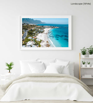 Aerial Clifton beach along Cape Town coast on a summers day in a white fine art frame