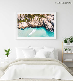 Aerial small wave breaking along Llandudno Beach in Cape Town in a white fine art frame