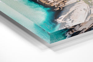 Aerial Clifton beach along Cape Town coast on a summers day in an acrylic/perspex frame