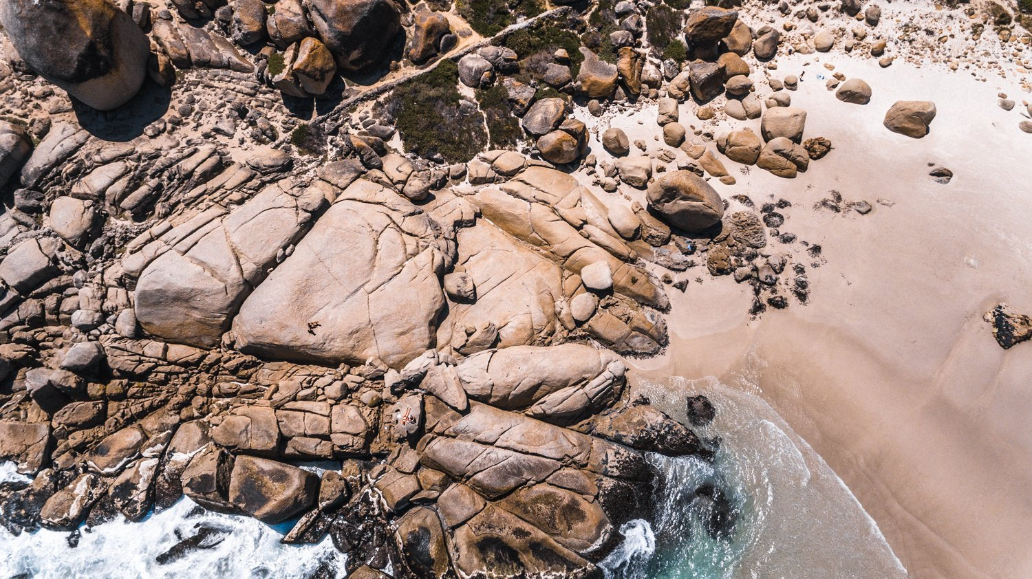 Aerial beach rocks in Cape Town
