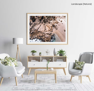 Aerial beach rocks in Cape Town in a natural fine art frame