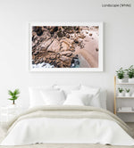 Aerial beach rocks in Cape Town in a white fine art frame