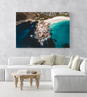 Aerial beach rocks in Cape Town in an acrylic/perspex frame