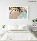 Two people playing beach bats on Llandudno Beach in Cape Town from an aerial perspective in a white fine art frame
