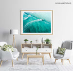 Three people surfing blue wave in Cape Town from above in a natural fine art frame
