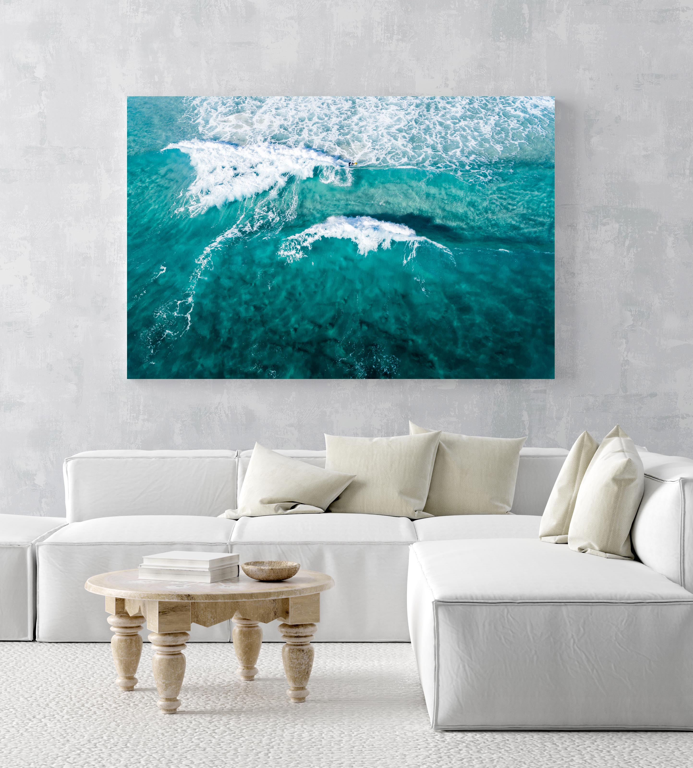 Aerial of two waves breaking in blue ocean in Cape Town in an acrylic/perspex frame