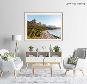 The twelve apostles mountains during sunset at beach in a natural fine art frame