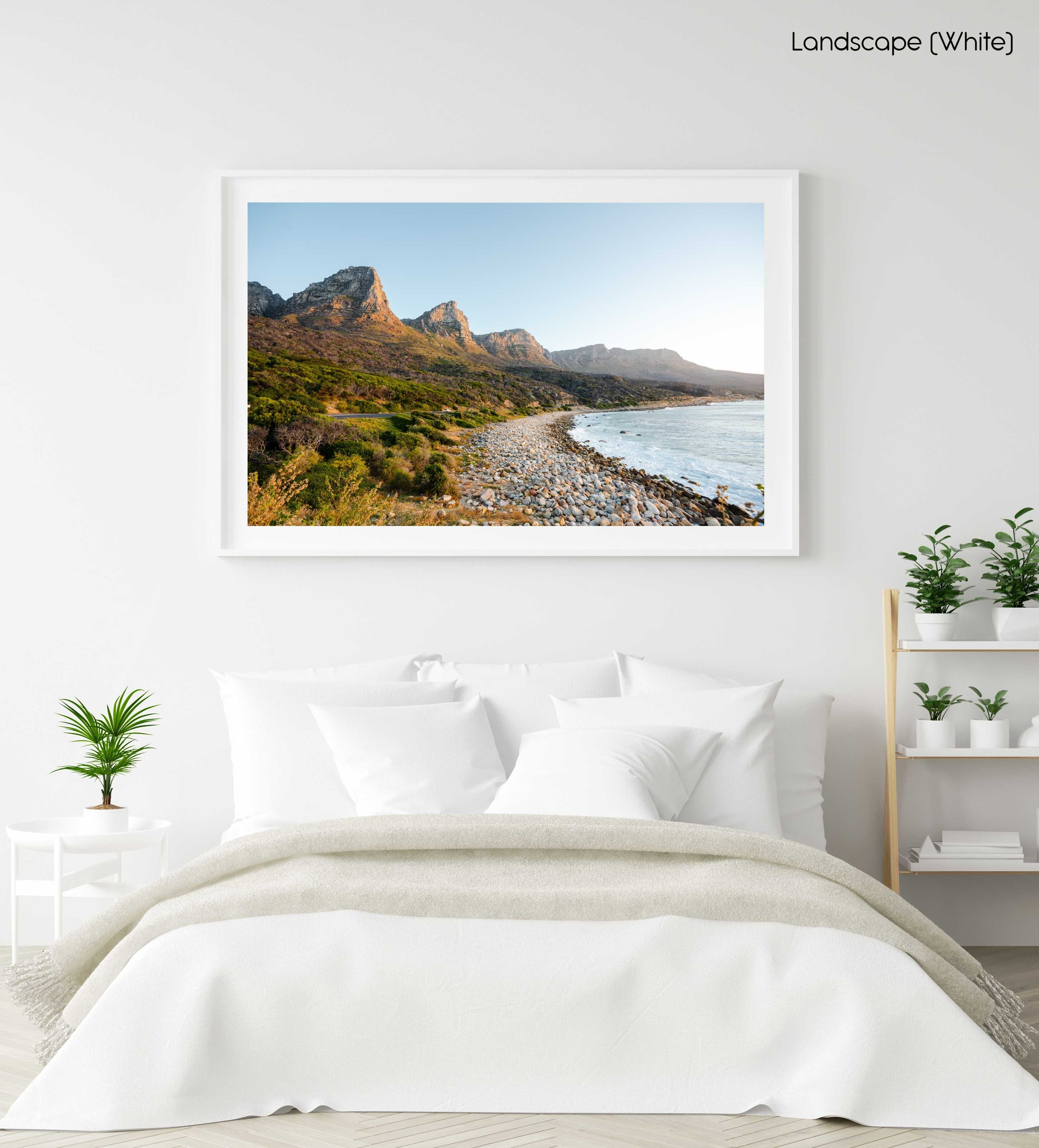 The twelve apostles mountains during sunset at beach in a white fine art frame