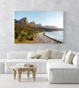 The twelve apostles mountains during sunset at beach in an acrylic/perspex frame