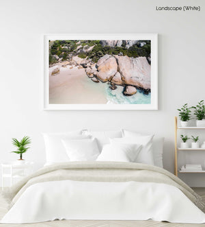 Aerial of boulders and beach in Cape Town in a white fine art frame