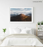 Aerial little lions head in hout bay at sunset in clouds in a white fine art frame