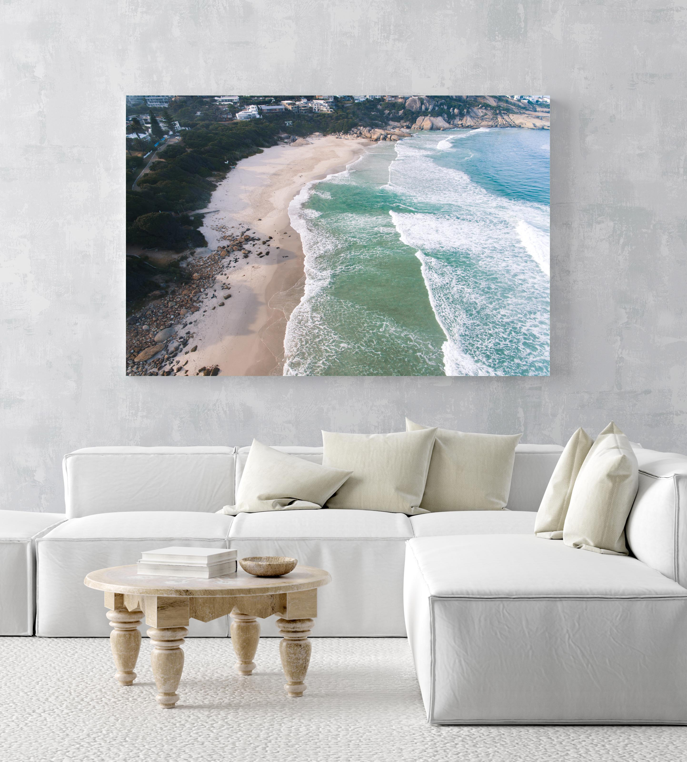 Aerial of Llandudno Beach waves in morning in an acrylic/perspex frame