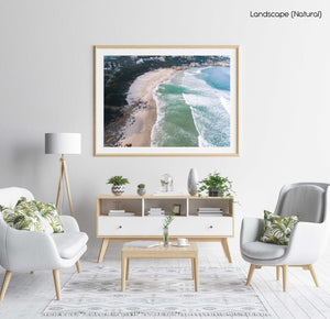Aerial of Llandudno Beach waves in morning in a natural fine art frame