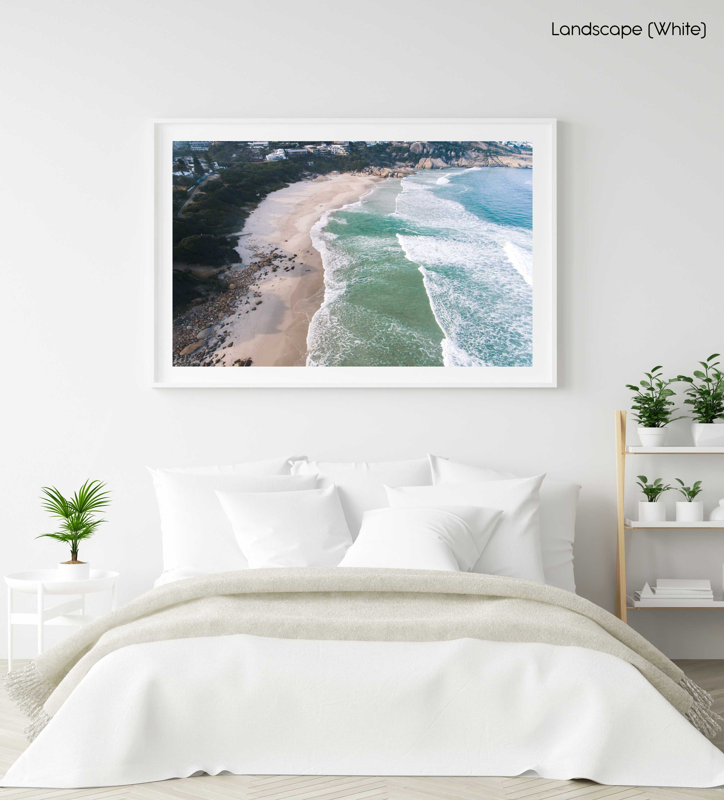 Aerial of Llandudno Beach waves in morning in a white fine art frame