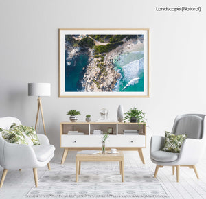 Aerial boulders in sea in Llandudno Beach Cape Town in a natural fine art frame