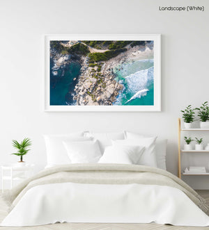 Aerial boulders in sea in Llandudno Beach Cape Town in a white fine art frame