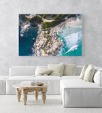 Aerial boulders in sea in Llandudno Beach Cape Town in an acrylic/perspex frame