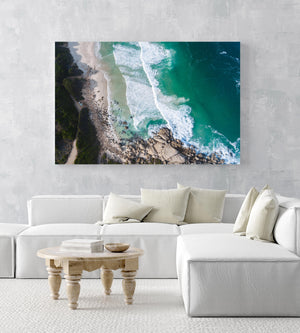 Dark green and blue ocean waves in Llandudno beach Cape Town aerial in a white fine art frame