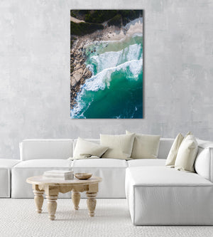 Dark green and blue ocean waves in Llandudno beach Cape Town aerial in a natural fine art frame
