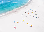 Aerial of colorful beach chairs on Camps Bay beach Cape Town