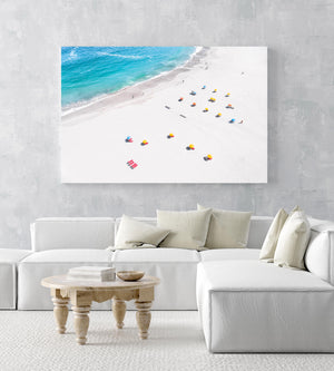 Aerial of colorful beach chairs on Camps Bay beach Cape Town in an acrylic/perspex frame