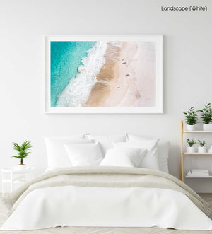 Aerial blue water and people walking on Camps Bay beach Cape Town in a white fine art frame