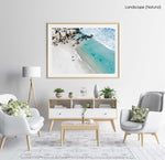 Aerial of two surfers about to get in blue water in Cape Town in a natural fine art frame