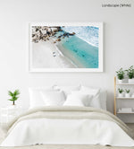 Aerial of two surfers about to get in blue water in Cape Town in a white fine art frame