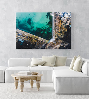 Aerial of camps bay green and blue tidal pool in an acrylic/perspex frame
