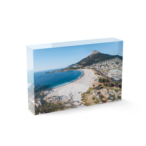 Aerial of camps bay beach and lions head in cape town