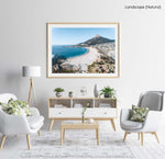 Aerial of camps bay beach and lions head in cape town in a natural fine art frame