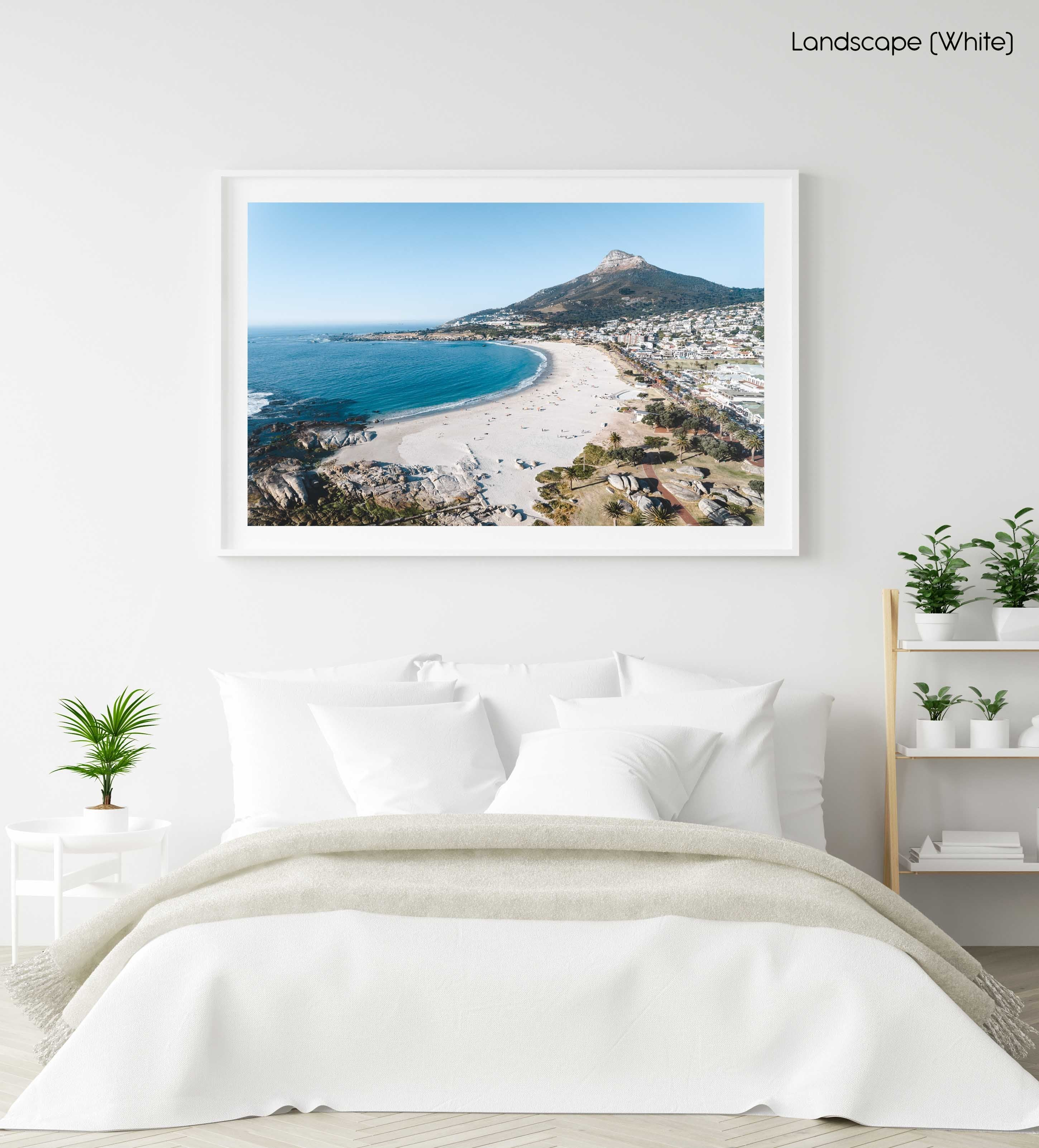 Aerial of camps bay beach and lions head in cape town in a white fine art frame