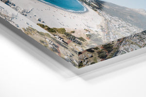 Aerial of camps bay beach and lions head in cape town in an acrylic/perspex frame