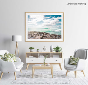 Turquoise waves breaking along arniston coast south africa in a natural fine art frame