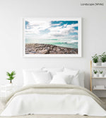 Turquoise waves breaking along arniston coast south africa in a white fine art frame