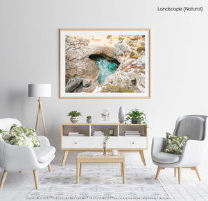 Natural turquoise pool along arniston coast south africa in a natural fine art frame