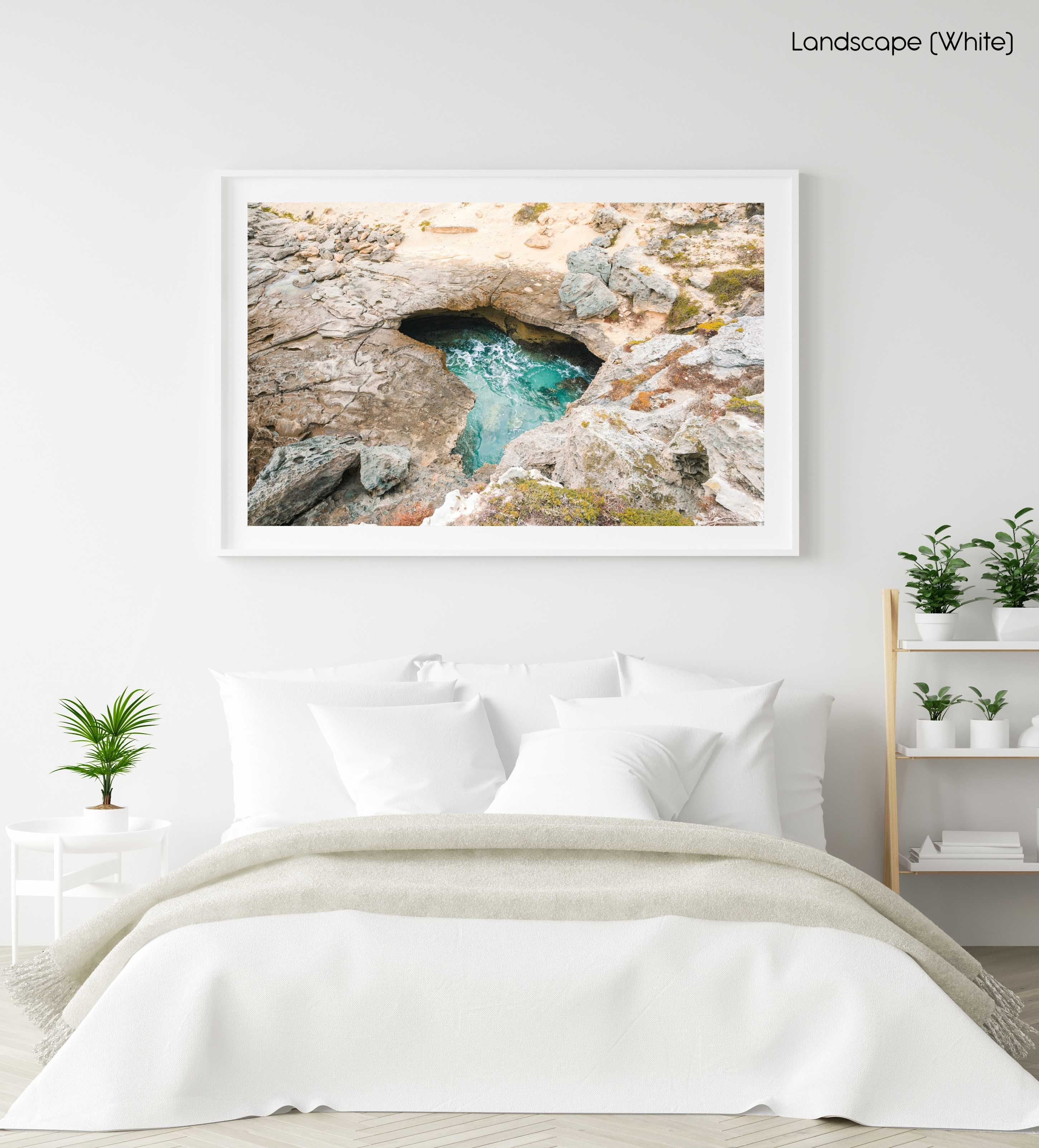 Natural turquoise pool along arniston coast south africa in a white fine art frame
