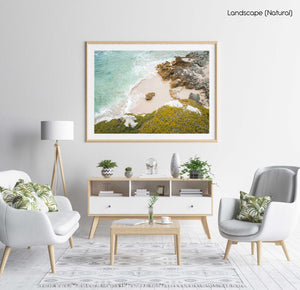 Rock in middle of a sandy beach in arniston south africa in a natural fine art frame
